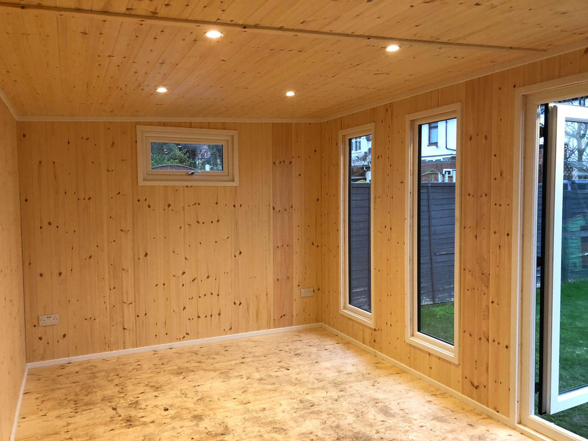 Timber lined garden room